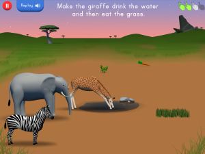 Jan14 safari Giraffe drink water then eat grass